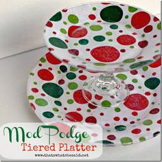 Super Easy Tiered Platter - attach colorful paper to the bottom of 2 clear plates using sparkle Mod Podge. Candle stick creates the tier between the plates. by melanie Dollar Tree Christmas, Dollar Tree Crafts, All Things Christmas, Holiday Crafts, Holiday Fun, Fun Crafts, Christmas Holidays, Diy And Crafts, Christmas Decorations