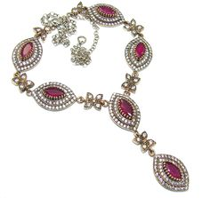 $139.25 Victorian+Style!+AAA+Pink+Ruby+&+White+Topaz+Sterling+Silver+necklace at www.SilverRushStyle.com #necklace #handmade #jewelry #silver #ruby