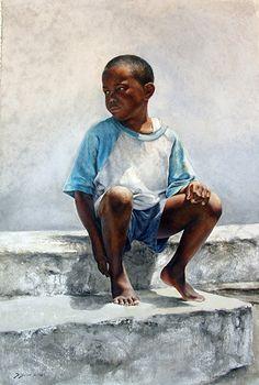 """Island Boy"" by Sheldon Saint 19 x 30 watercolor Finaslit in Bold Brush Painting Competition Black Art Painting, Black Artwork, Watercolor Artists, Watercolor Portraits, Watercolour, Watercolor Trees, Watercolor Landscape, African American Artist, African Art"