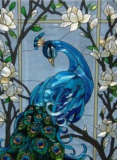 Magnificent Peacock Stained Glass Window Panel - my mom would love this! Stained Glass Birds, Stained Glass Designs, Stained Glass Panels, Stained Glass Projects, Stained Glass Patterns, Fused Glass, Glass Beads, Glass Marbles, Leaded Glass