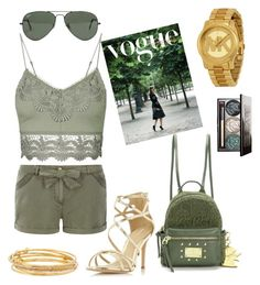 """green gold"" by marsia-fashion on Polyvore featuring Ray-Ban, Dorothy Perkins, Topshop, Juicy Couture, Michael Kors, Kate Spade and Chantecaille"