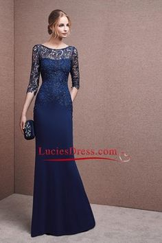 2016 Scoop 3/4 Length Sleeve Dark Navy Spandex & Lace With Beads Mother Of The Bride Dresses US$ 189.99 LCPZZN4RYK - luciesdress.com