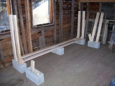 Furniture, DIY Indoor Cinderblock Firewood Rack Storage Design Using Reclaimed Wood Ideas ~ DIY Firewood Rack
