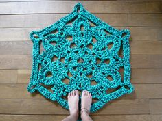 doily bath rug turquoise by squirrellicious on Etsy