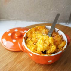 Very creamy pumpkin mac and cheese, baked until bubbling hot and crusty!