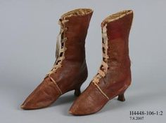 H4448-106 Front laced boots, pair, womens, leather / linen, maker unknown, England, c. 1810 - Powerhouse Museum Collection