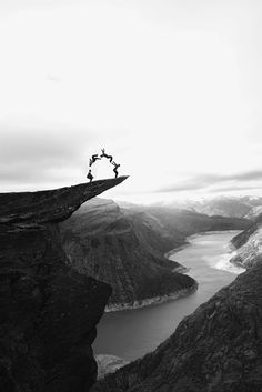 On her list of regular to dos: cartwheels in remote places.    trolltunga .odda norway