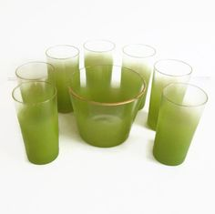 14f0d2ef4a5 Blendo Glass Set Lime Green Ombre 7 Drinking Glasses and Ice Bucket Vintage  Barware Tumblers Summer Glasses
