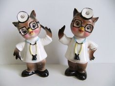 Japan Owl Salt and Pepper Shaker Set - Vintage Anthropomorphic Figurines Doctors