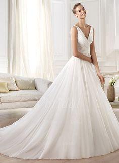 Wedding Dresses - $176.88 - A-Line/Princess V-neck Cathedral Train Chiffon Wedding Dress With Ruffle (0025055897)