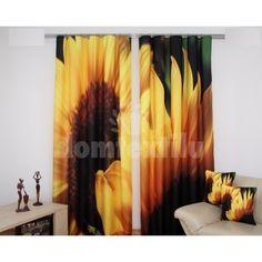 Tmavozelený záves do obývyčky s motívom veľkých slnečníc - domtextilu. Curtains, Shower, Prints, 3d, Home Decor, Insulated Curtains, Homemade Home Decor, Blinds, Rain Shower Heads