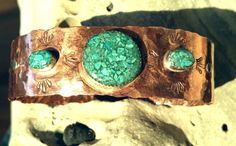 Hammered Copper Cuff Bracelet with three inlayed turquoise silver bezels. by SusanDeBayJewelry on Etsy