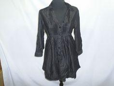 Miley Cirus Max Azria Size Large Black Belted Shirt Dress #MaxAzria #ButtonDownShirt #Clubwear