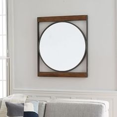 "Industrial Metal + Wood Round Wall Mirror #westelm  32""w x 1.75""d x 37""h."