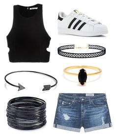 """Casual California"" by beccastylesxoxo ❤ liked on Polyvore featuring AG Adriano Goldschmied, adidas, T By Alexander Wang, LULUS, Bing Bang, ABS by Allen Schwartz and Bling Jewelry"