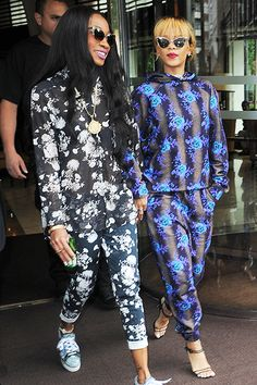 Rihanna heads to her concert with best friend Melissa Forde in London on June 16. Did you guys forget the matching blue wigs?