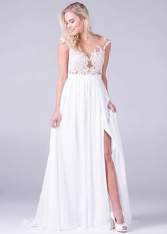 Bride&co wedding dress, Lace illusion bodice with chiffon skirt and sexy slit. Bridal Collection, Dress Collection, Chiffon Skirt, Formal Dresses, Wedding Dresses, Our Wedding, Bodice, Wedding Planning, Illusion