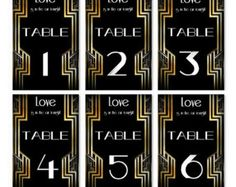 Table Numbers Wedding Decor Paper Goods Great Gatsby 1-20 set Printable Black and Gold Art Deco Retro Style for your wedding