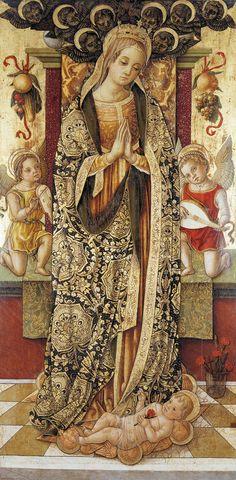 Vittore Crivelli (c.1430-1502)  —Madonna and Child with Music Making Angels, 1479  : Sarnano,  Italy (600×1221)