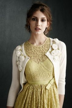 I love cardigans, especially with roses on them. The dress is so romantic.