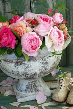 beautiful fresh flowers in aged container - magnificence!
