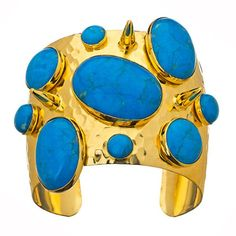 Turquoise Chunky Spikes Cuff Bracelet