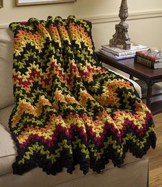 V-Stitch Ripple Afghan pattern by Leisure Arts (free crochet afghan patterns ravelry) Crochet Afghans, Motifs Afghans, Crochet Ripple Afghan, Crochet Motifs, Crochet Quilt, Afghan Crochet Patterns, Crochet Stitches, Crochet Hooks, Free Crochet
