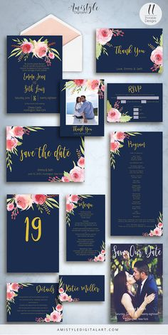 Printable wedding invitation suite - embellished with adorable hand painted watercolor rose floral elements in navy blue and gold by Amistyle Digital Art on Etsy