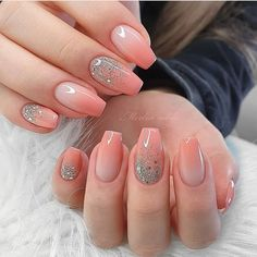 french nail designs These Ombre Wedding Nails Are So Pretty, French Ombre Nails Pink Wedding Nails, Wedding Nails Design, Bridal Nails, Simple Wedding Nails, Bridal Makeup, Square Nail Designs, Ombre Nail Designs, French Nail Designs, Glitter Nail Designs