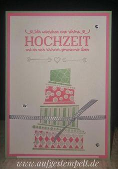 Cake Crazy, Doppelt gemoppelt, Hochzeitskarte, Hochzeit, Glückwunschkarte, Karte, Torte, Flamingorot, Minzmakrone, Schiefergrau, Lack-Akzente, Stampin Up, Aufgestempelt, www.aufgestempelt.de