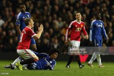Bastian Schweinsteiger of Manchester United reacts after a foul on Willian of Chelsea during the Barclays Premier League match between Manchester Untied and Chelsea at Old Trafford on December 28, 2015 in Manchester, England.