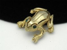 Denicola Vintage Figural Frog Brooch Pin Rhinestone   eBay