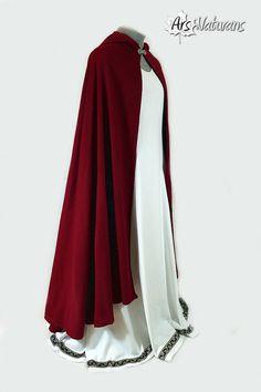 Pure Italian Wool Lightweight Dark Red Celtic Cloak