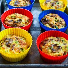 Baked Mini-Frittata Recipe with Mushrooms, Cottage Cheese, and Feta makes a delicious #LowCarb and #GlutenFree breakfast. [from KalynsKitchen.com]