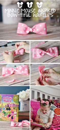 How To Make A Minnie Mouse Hairbow Clip & Minnie Mouse Ears Hairstyle - Step by step photos + instructions & video #MinnieInParis