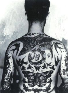 Photo of Tommy Stephen's tattoos by Bert Grimm // Guinness Book, 1950s. // old school tattoos!