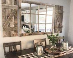 Farmhouse Mirrors, Rustic Mirrors, Farmhouse Windows, Country Farmhouse Decor, Wall Of Mirrors, Rustic Farmhouse Entryway, Rustic Walls, Wall Mirror Ideas, Farmhouse Table