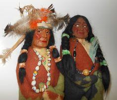 Amazing Pair of Authentic Large Skookum Dolls Indian Chief Squaw w Papoose