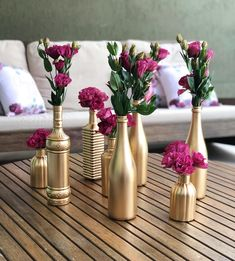 Birthday Party Decorations, Wedding Decorations, Birthday Parties, Table Decorations, Wine Bottle Art, Wine Bottle Crafts, Gold Wedding Centerpieces, Flamingo Birthday, Handmade Home Decor