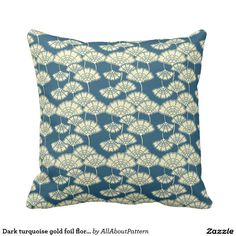 Dark turquoise gold foil floral Japanese pattern Throw Pillow