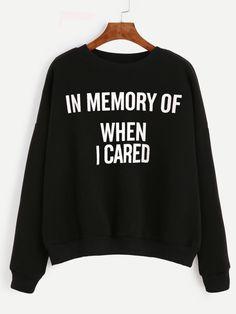 Black Letter Print Drop Shoulder SweatshirtFor Women-romwe