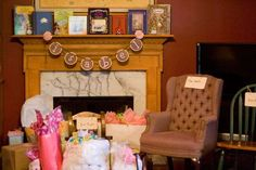 "For vintage fairytale-themed  baby shower - display old fairytale books.  Gifts.  Label the chairs for guests ""Too Soft"", ""Too Hard"", ""Just Right"" etc. (ala Goldlilocks)"