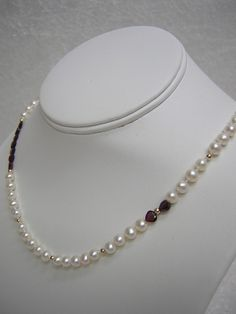 25% OFF Mothers Day Sale Coupon Code: RLgems25..Cultured Freshwater Pearl Necklace Faceted by RLGemstoneElegance, $99.00