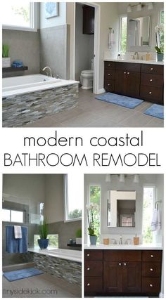 They took this bathroom and transformed it into a modern coastal master bathroom! Modern Bathroom Renovations, Home, Bathroom Inspiration Modern, Remodel, Home Remodeling, Home Deco, Bathrooms Remodel, Bathroom Decor, Beautiful Bathrooms