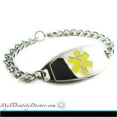My-Identity-Doctor specializes in custom engraved medical alert jewelry.  Because our custom engraved medical alert bracelets are engraved with BLACK font, they are very easy to read and highly visible.  For more Detail click on image.