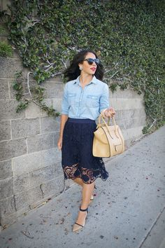 | navy lace skirt and chambray top |
