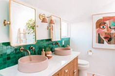 Home Fashion, Spa, Bathroom Pictures, Colorful Bathroom, Wall Sconces