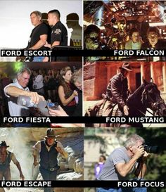 Ford Escort Ford Fiesta Ford Falcon Ford Mustang F. ~ Memes curates only the best funny online content. The Ultimate cure to boredom with a daily fix of haha, hehe and jaja's. Ford Falcon, Harrison Ford, Funny Images, Funny Photos, Best Funny Pictures, Meme Pictures, Random Pictures, Couple Pictures, Image Blog