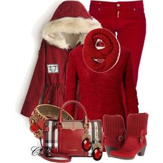 Christmas in Monochrome RED, created by colierollers on Polyvore
