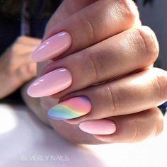 Pink nail polish with ombre blue nail art design. Pastel Nails, Blue Nails, Maila, Hot Nails, Best Acrylic Nails, Almond Nails, Nails Inspiration, Nail Colors, Nail Art Designs